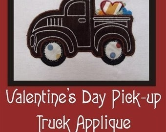 Vintage Truck with Presents Applique for Boys- Instant Email Delivery Download Machine embroidery design