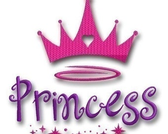 Princess Crown Embroidery - Instant Download -Digital Machine Embroidery Design