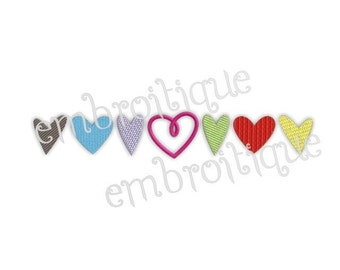 Line of Hearts - Valentine's Day or Any Day- Instant Email Delivery Download Machine embroidery design
