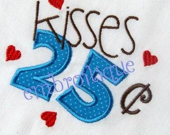 25 Cent Kisses Valentine's Day Adorable Whimsical Applique  -Instant Download Digital Files For Machine Embroidery