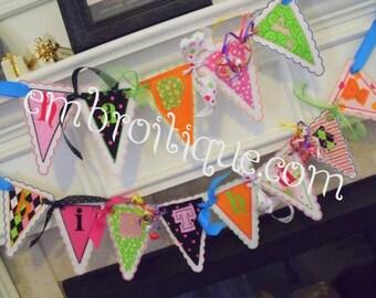 Brilliant Birthday Banner- In The Hoop Design- Instant Download -Digital Machine Embroidery Design