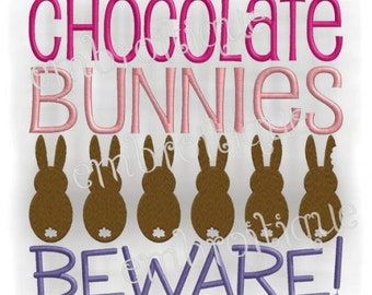 Chocolate Bunnies Beware Easter Embroidery Design- -Instant Download Digital Files for Machine Embroidery