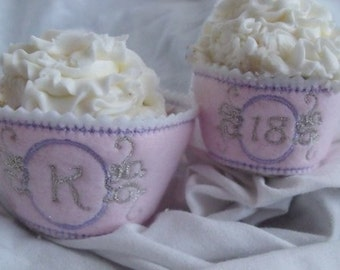 Cupcake Wrapper and Topper Set - Fairytale Monogram- - Machine Embroidery Font Alphabet Letters  - Instant Email Delivery Download design