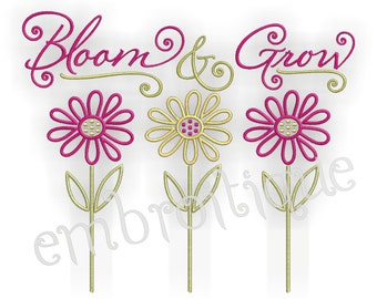 Bloom and Grow Spring Flowers - Instant Download Machine embroidery design