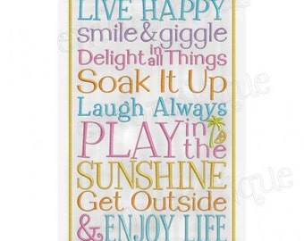 Live Happy Smile and Giggle Enjoy Life- Instant Email Delivery Download Machine embroidery design