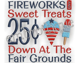 Fireworks and Sweet Treats 4th of July America - Instant Download -Digital Machine Embroidery Design