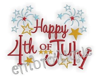 Happy 4th of July - - Instant Download- Machine Embroidery Digital Design