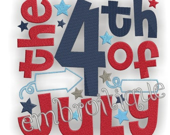 The 4th of July Word Block- Instant  Download- Digital Machine Embroidery Design