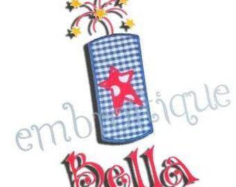Firework Firecracker 4th of July Star Applique- Instant Download -Digital Machine Embroidery Design