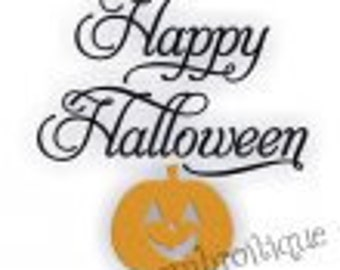 Classy Happy Halloween Fancy Script with Fill Stitch Jack-o-Lantern- Instant Email Delivery Download Machine embroidery design