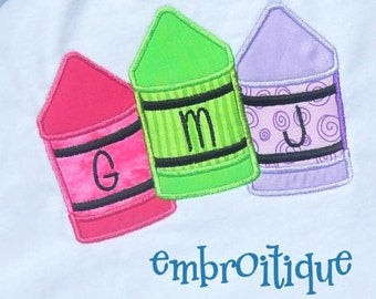 Back to School Chunky Crayon 3 Letter Monogram and Single Crayon- Instant Download -Digital Machine Embroidery Design