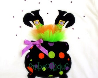 Halloween Wonky Witch Feet Cauldron Tutu - with instructions-Instant Download -Digital Machine Embroidery Design