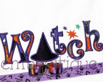 Halloween Witch Word Art Fill Stitch, Outline and Applique Set- Instant Email Delivery Download Machine embroidery design