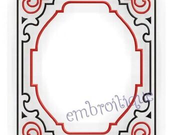 Art Deco Font Frame- Instant Download -Digital Machine Embroidery Design