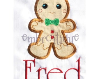 Mr. Fred Bread Gingerbread Man Christmas Applique Boy- Instant Email Delivery Download Machine embroidery design