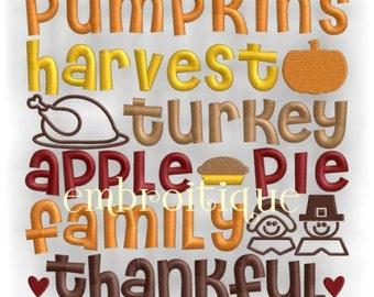 Pumpkin Harvest Turkey Thanksgiving Word Block- Instant Download -Digital Machine Embroidery Design