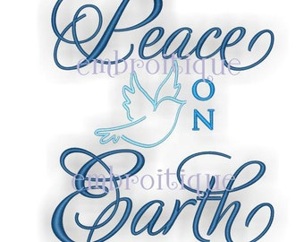 Peace on Earth Holiday Dove - Instant Email Delivery Download Machine embroidery design