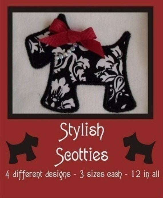 Stylish Scotties Design Set- Instant Email Delivery Download Machine embroidery design