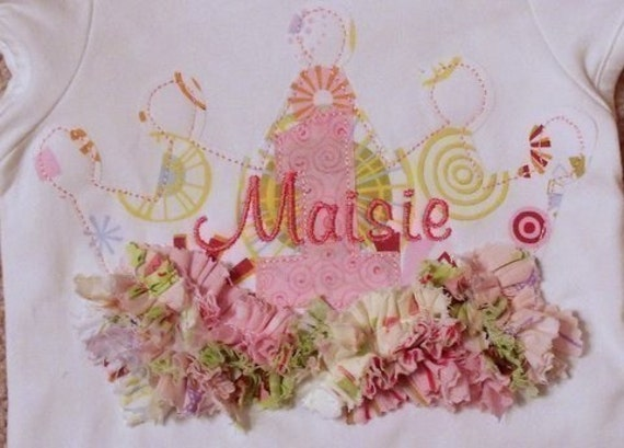 ITH Shabby Sweet Ruched Princess Crown Applique with Numbers- Instant Email Delivery Download Machine embroidery design