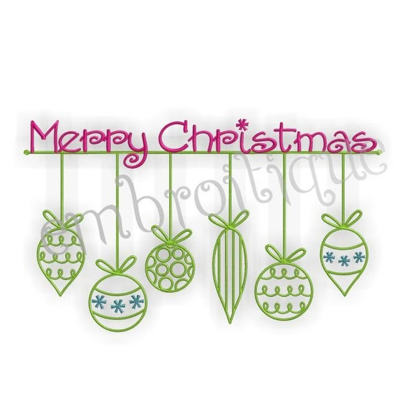 Merry Christmas with Ornaments- Instant Email Delivery Download Machine embroidery design