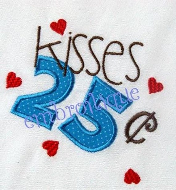 25 Cent Kisses Valentine's Day Adorable Whimsical Applique  Instant Email Delivery Download Machine embroidery design