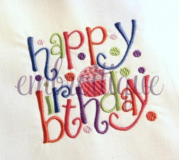 Happy Birthday Block 1- Instant Download Machine Embroidery Design