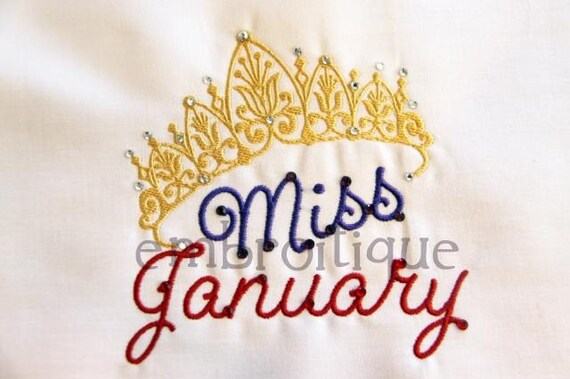 Miss Month Design Collection - 36 files included- Instant Email Delivery Download Machine embroidery design