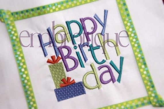 Happy Birthday Block With Presents- Instant Download Machine Embroidery Design