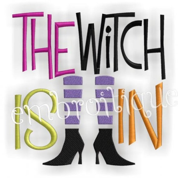 The Witch is In Halloween Embroidery Design Legs Feet Shoes- Instant Email Delivery Download Machine embroidery design