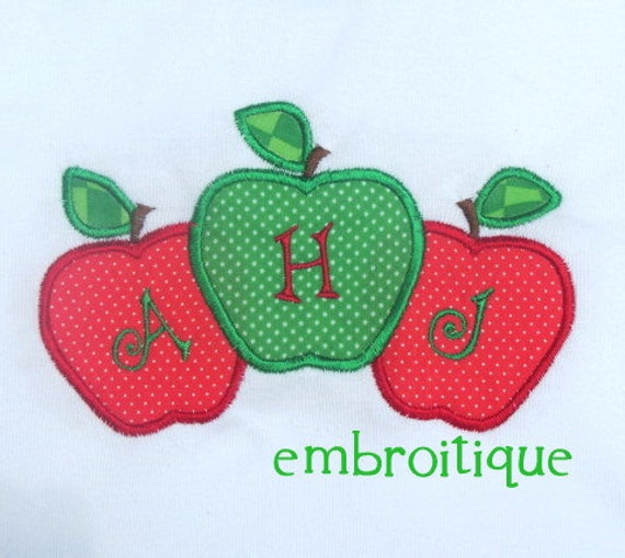 Back to School 3 Apple Monogram Frame and Single Applique-Instant Download -Digital Machine Embroidery Design