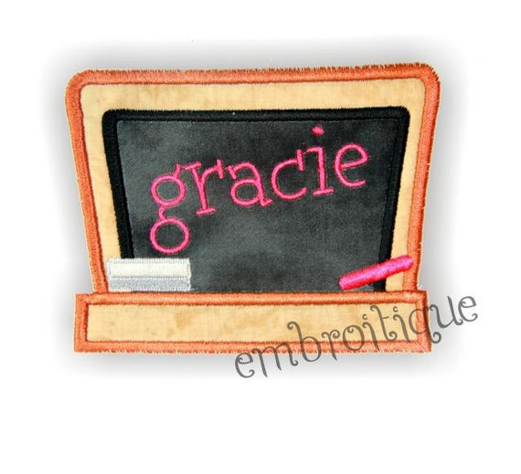 Back to School Chalkboard Applique  - Add your own font - font NOT included- Instant Email Delivery Download Machine embroidery design