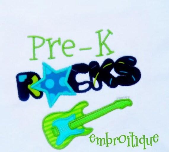 Back to School Pre-K Kindergarten First Grade Rocks SET- Instant Email Delivery Download Machine embroidery design