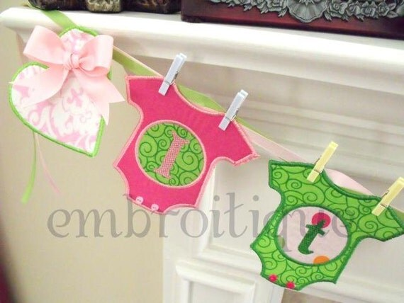 ITH In the Hoop Onesie baby Banner Announcement It's a Boy or Girl Star & Heart- Great for Baby Shower Decor Instant Download