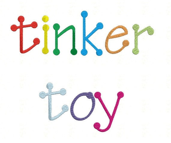 Tinker Toy Monogram Set - Machine Embroidery Font Alphabet Letters  - Instant Email Delivery Download Design