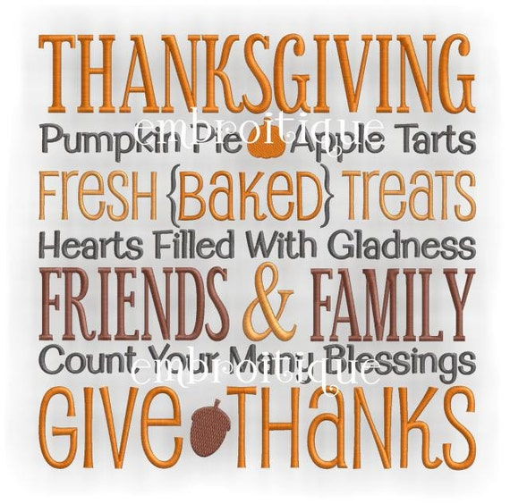 Thanksgiving Pumpkin Pie Friends and Family Give Thanks- Instant Download -Digital Machine Embroidery Design