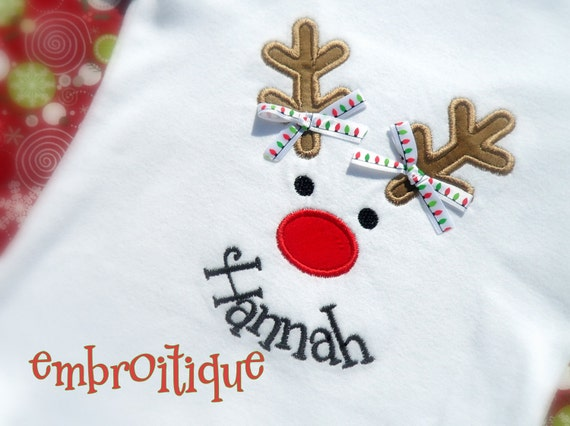 Christmas Holiday Reindeer Face Applique- Instant Download -Digital Machine Embroidery Design