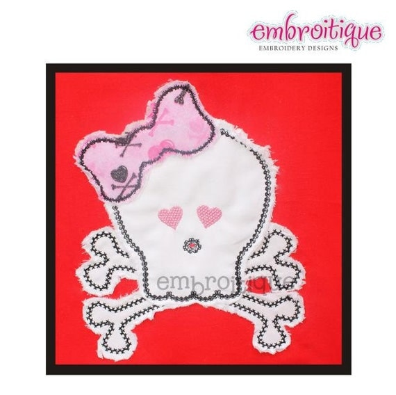 Girlie Skull with Bow Punk Love Valentine's Day Raw Edge- Instant Email Delivery Download Machine embroidery design