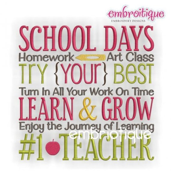School Days Teacher Word Block- Instant Email Delivery Download Machine embroidery design