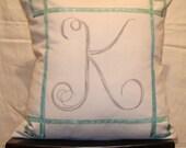 Custom Monogram Pillow Cover With Border Design