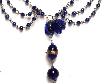 32 Inch Cobalt Blue VIntage Venetian Glass Necklace-Hard to Find Color