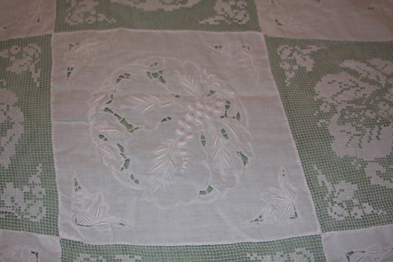 "Vintage 1930's - 1940""s Lace & Embroidery Table Cloth/Bed Cover White on White 64"" x 86"""