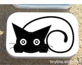 Black Cat on white altoid tin