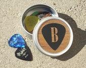 Personalized Guitar Pick Holder woodgrain with black pick design Round Metal Tin