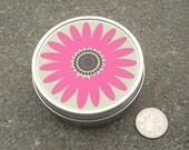 Tin Hot Pink Gerbera Daisy round tin