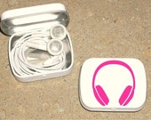 Tin ipod earbud tin white metal hinged tin 80's Headphone design - Hot Pink
