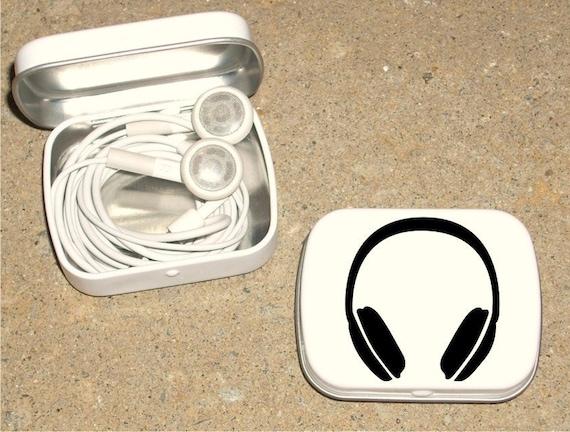 Tin ipod earbud tin white metal hinged tin 80's Headphone design