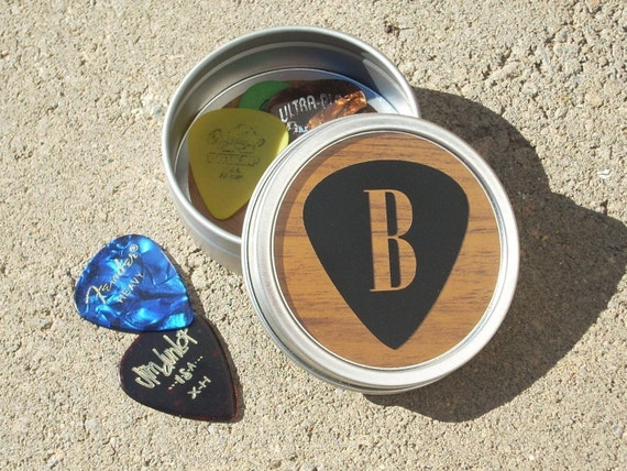 Personalized Guitar Pick Holder woodgrain with black pick design Round Metal Tin