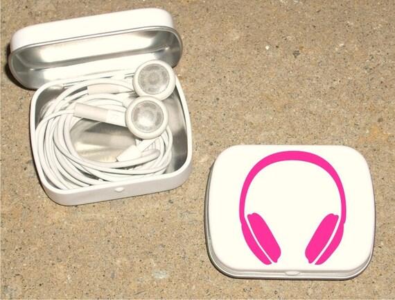 Tin ipod earbud tin white metal hinged tin 80's Headphone design - Hot Pink