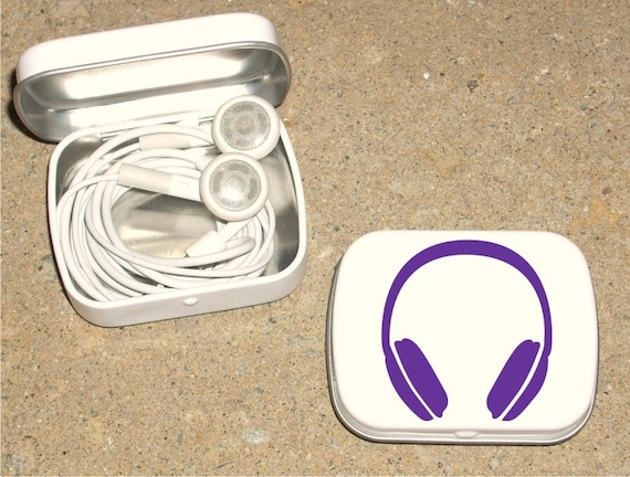 Tin ipod earbud tin white metal hinged tin 80's Headphone design - Purple