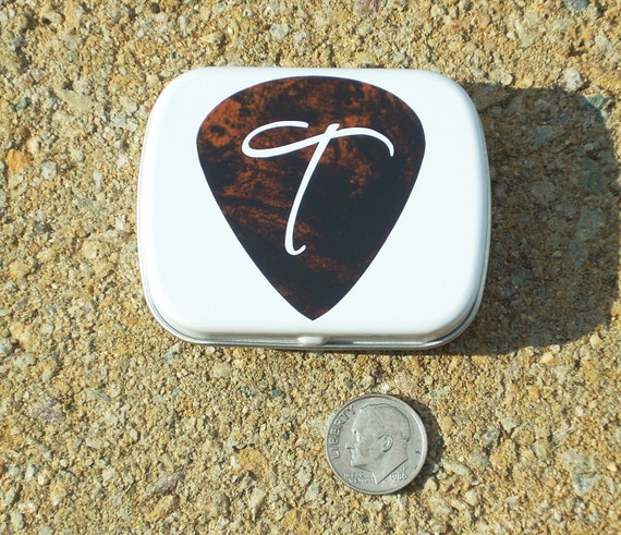 Personalized Guitar Pick Tin white hinged tin guitar pick holder - burlewood